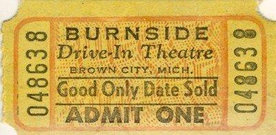 Burnside Drive-In Theatre - 1950S TICKET STUB FROM PAUL
