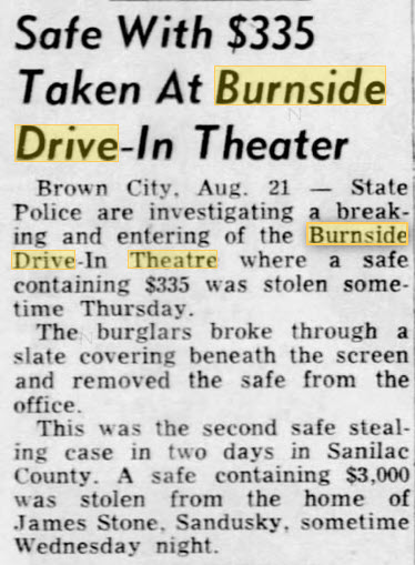Burnside Drive-In Theatre - 21 AUG 1953 ROBBERY