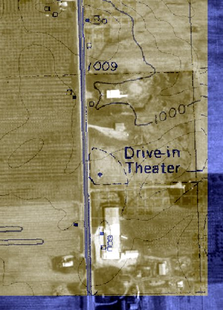 Coldwater Drive-In Theatre - AERIAL PHOTO WITH TOPO OVERLAY