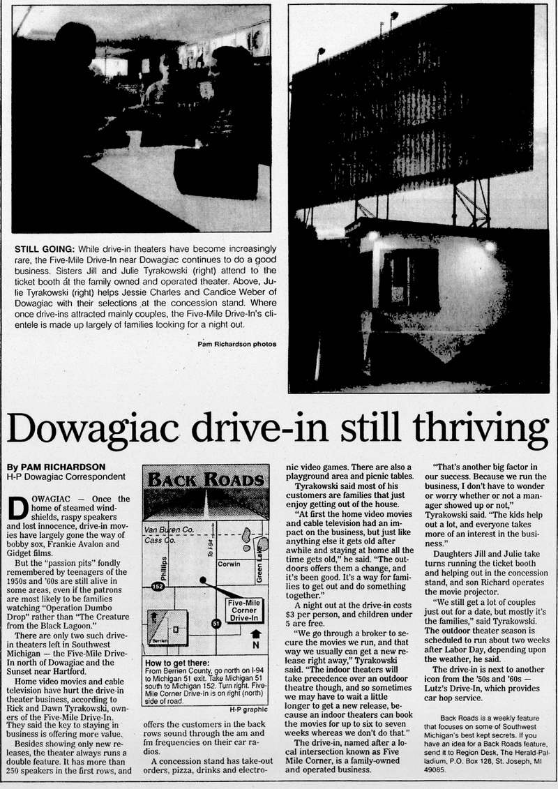 Aug 31 1995 article 5 Mile Drive-In Theatre, Dowagiac