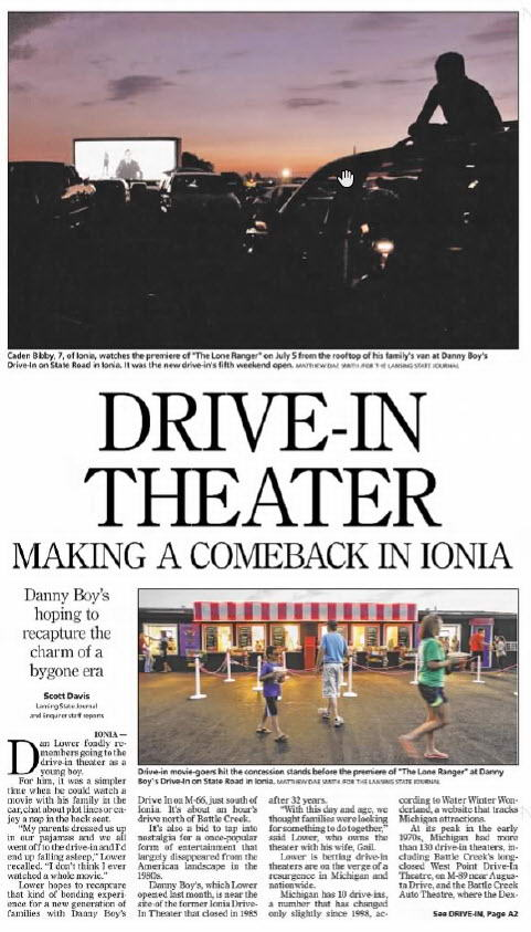 Danny Boys Drive In Movie Theaters - JULY 2013 ARTICLE