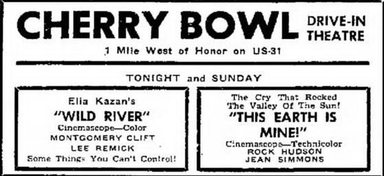 Sept 24 1960 ad Cherry Bowl Drive-In Theatre, Honor