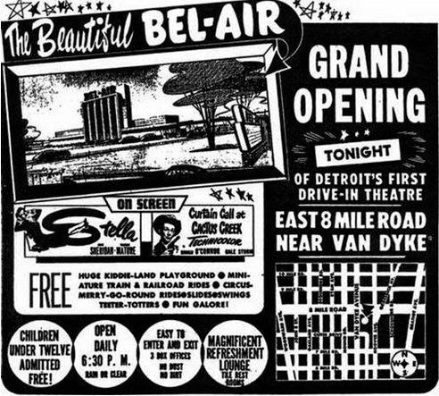1950-08-25 ad Bel Air Drive-In Theatre, Detroit