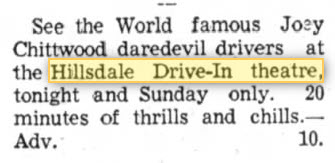 Hillsdale Drive-In Theatre - CHITWOOD SHOW 10 SEP 1966