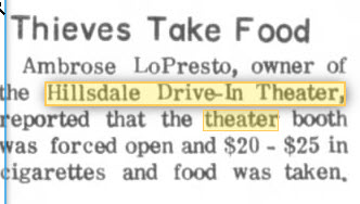 Hillsdale Drive-In Theatre - FOOD STOLEN SEP 30 1968