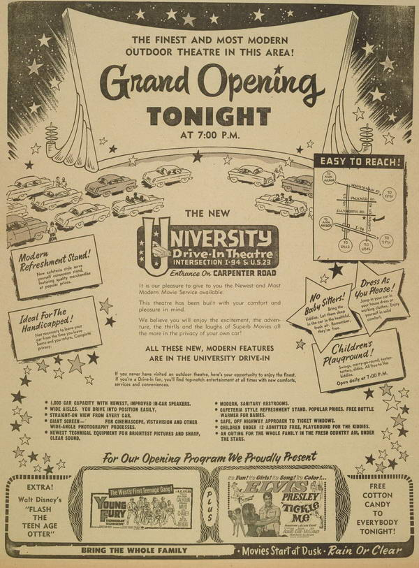 July 9 1965 ad University Drive-In Theatre, Ann Arbor