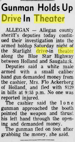 Starlight Drive-In Theatre - JUL 1 1971 ARTICLE ON ROBBERY