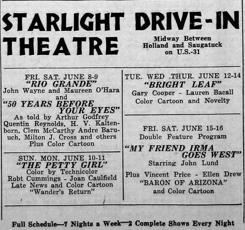 Starlight Drive-In Theatre - OLD AD FROM JAMES