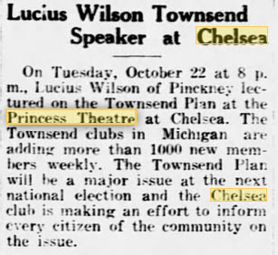 23 Oct 1935 article Princess Theatre, Chelsea