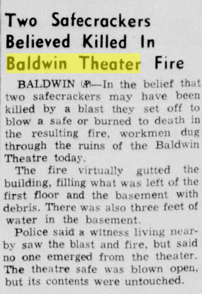 Baldwin Theatre - DEC 2 1954 ROBBERY AND FIRE