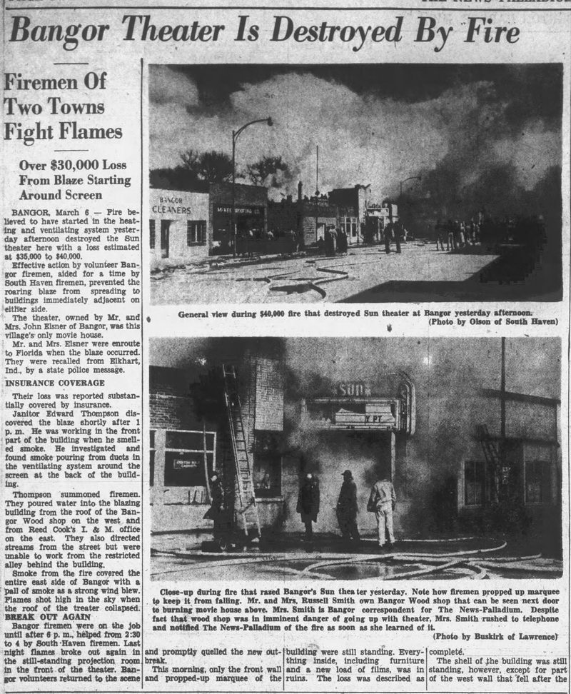 Sun Theater - MARCH 6 1952 DESTROYED BY FIRE