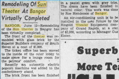 Sun Theater - JUNE 12 1947 REMODEL STORY