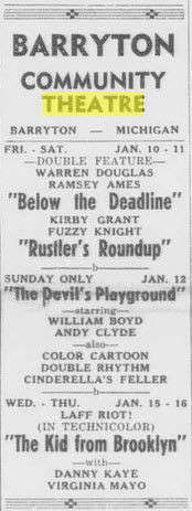 Community Theatre - JAN 9 1947 AD