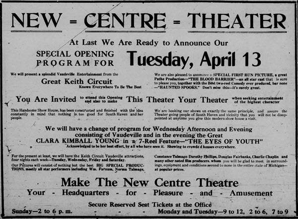 Centre Theater - APR 10 1920 AD