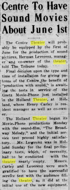 Centre Theater - APR 16 1929 ARTICLE
