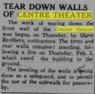 Centre Theater - MAR 9 1945 ARTICLE ON DEMOLITION