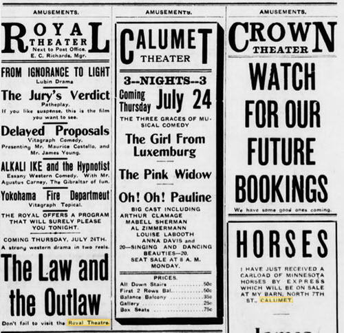3 theatres from July 23 1913 Crown Theater, Calumet